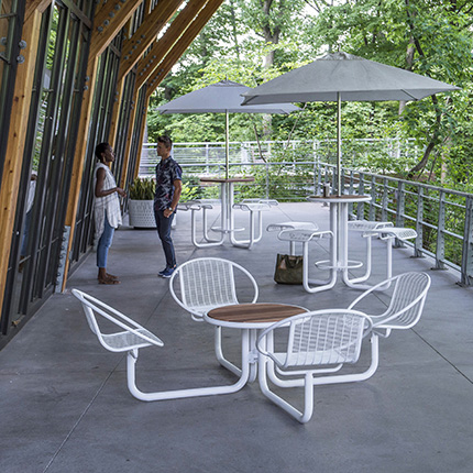 New Carousel Table w/ Attached Seating from Landscape Forms